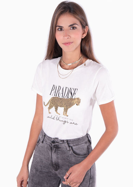 "Camiseta color beige estampada leopardo ""Paradise"" para mujer flashy"