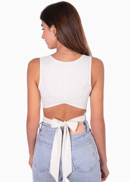 Crop top color blanco, sin mangas con espalda destapada y anudado para mujer flashy