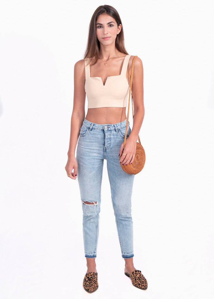 Crop top color beige para mujer flashy