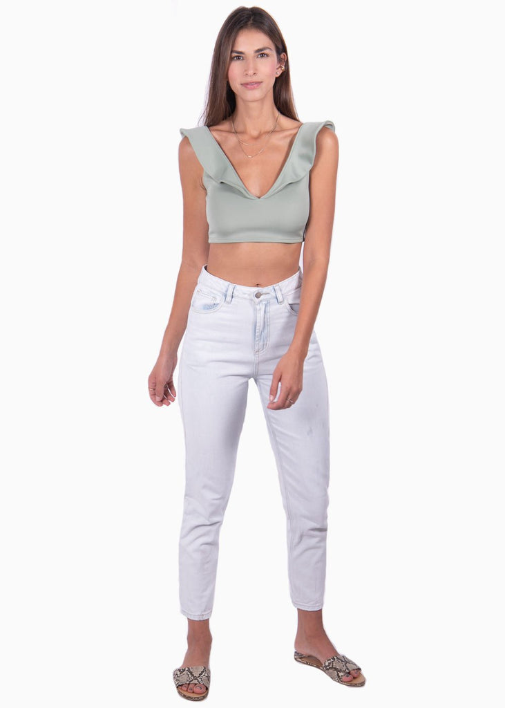 Crop top color verde menta boleros para mujer flashy