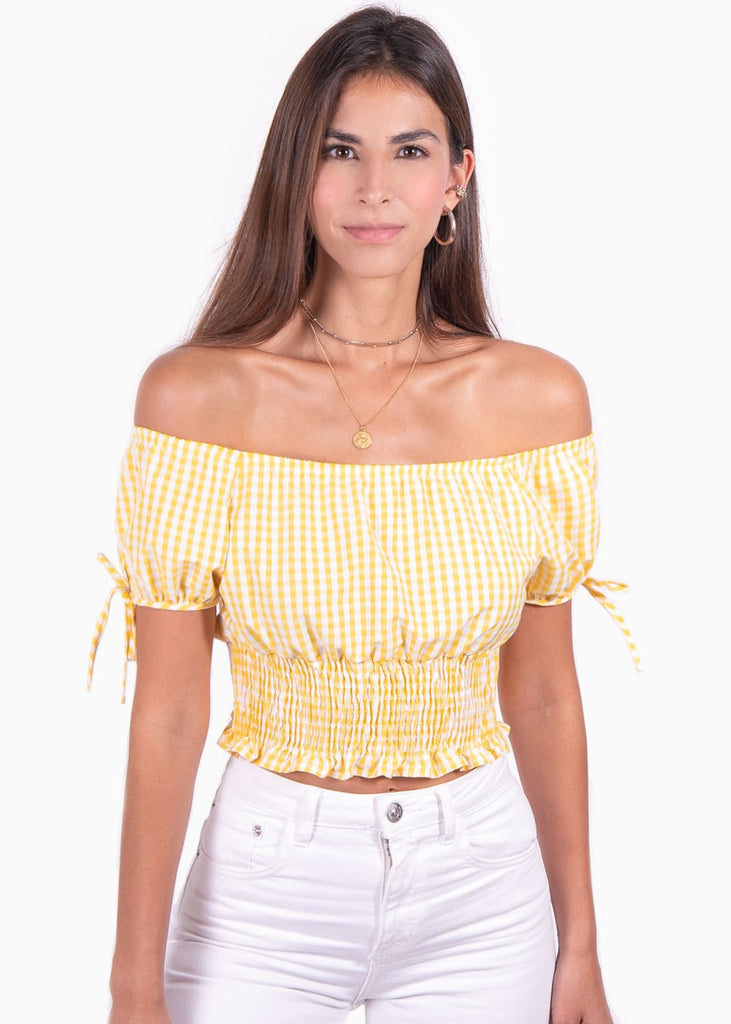 Crop top campesino color amarillo con estampado de cuadros para mujer flashy