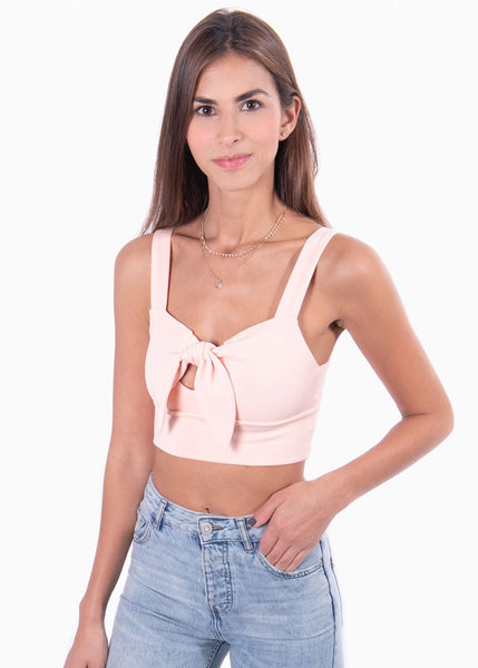 Crop top de tiras color rosa con anudado en escote para mujer Flashy