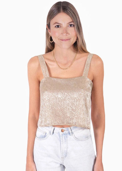 Crop top color dorado de tiras con escote cuadrado para mujer flashy