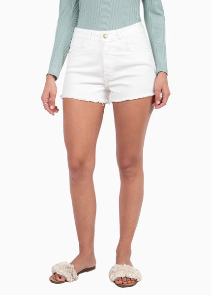 Short de tiro alto color blanco con desflecado para mujer flashy