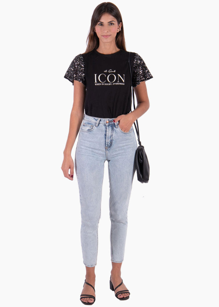 "Camiseta estampada ""ICON"" con mangas en lentejuelas - MONIQUE"