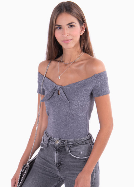 Blusa off shoulder con brillo para mujer flashy