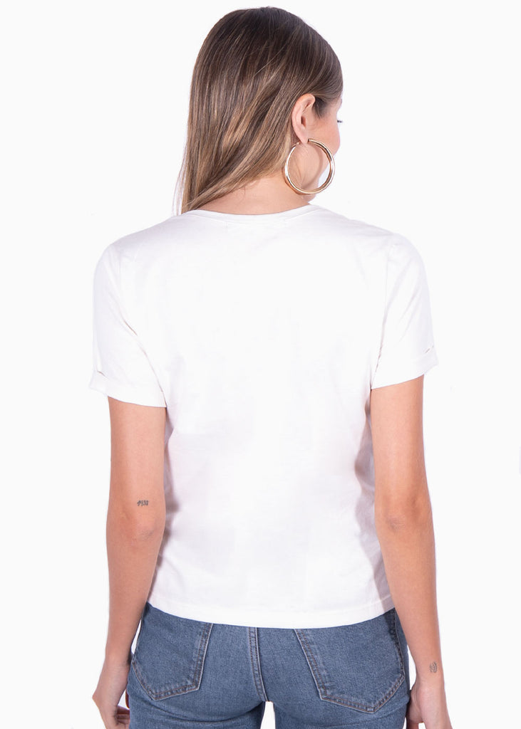 "Camiseta color beige estampada ""Frenchies"" para mujer flashy"