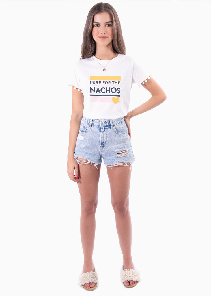 "Camiseta estampada ""Here for the nachos"" - FABIA"