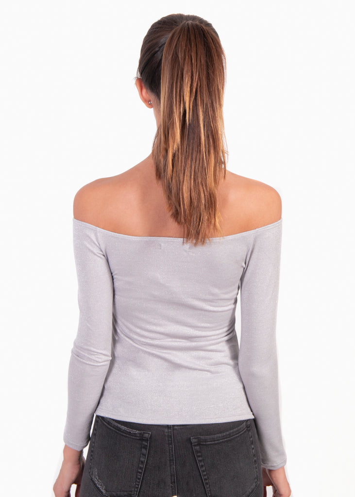 Blusa color gris off shoulder manga larga para mujer flashy