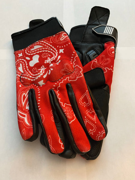 Red & White Bandanna Print Riding Gloves