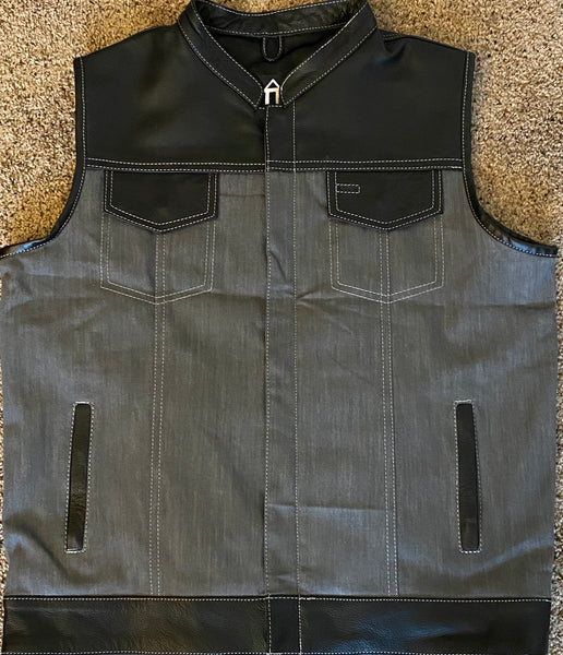 Grey with Black Leather Hybrid Vest