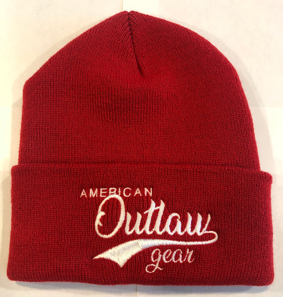 American Outlaw Beanie Red & White