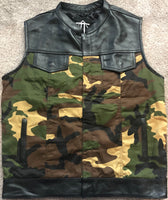 Camo and Leather Hybrid Riding Vest