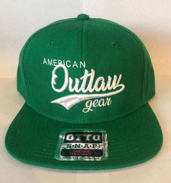 American Outlaw Snapback Green & White