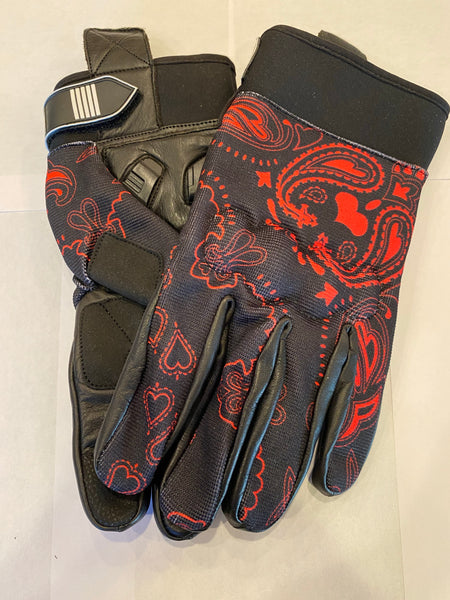 Red and Black Bandanna Print Riding Gloves
