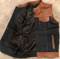 Brown Leather and Denim Hybrid Riding Vest