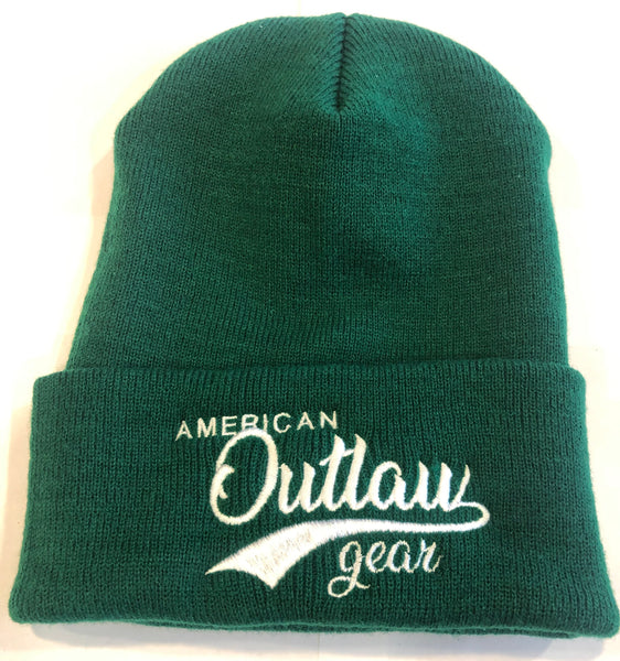 American Outlaw Beanie Green & White
