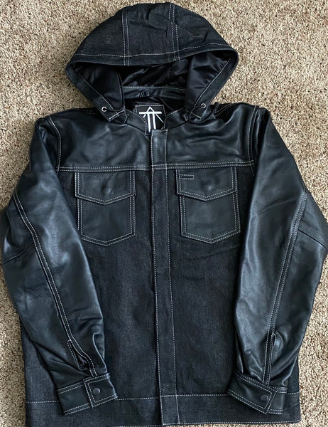 Black Leather and Black Denim Hybrid Jacket