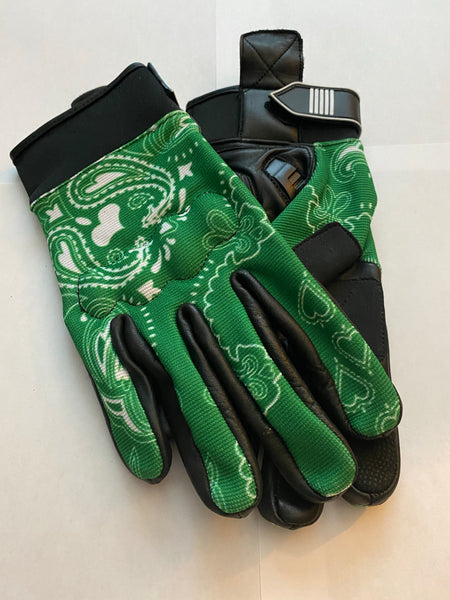 Green & White Bandanna Print Riding Gloves