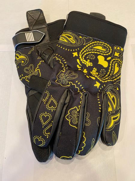 Yellow and Black Bandanna Print Riding Gloves