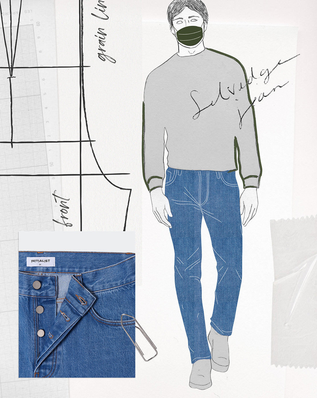 Jeans Selvedge ice wash