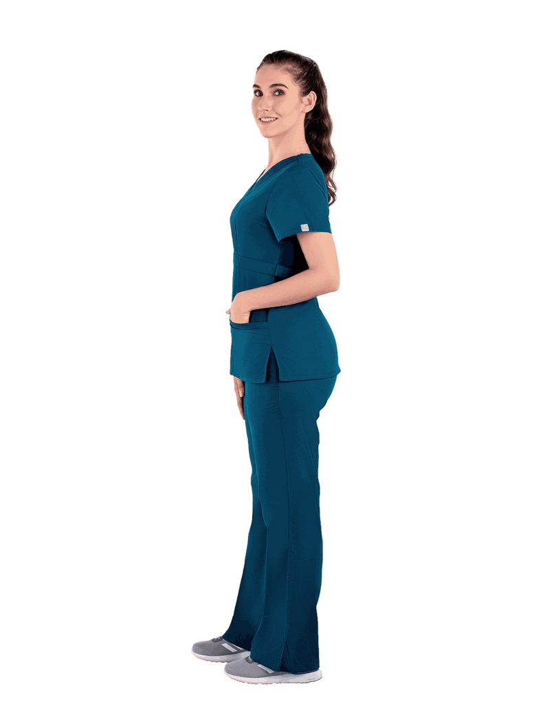 Life Threads | Women's Classic Mock Wrap Scrub Top - Caribbean Blue - 4
