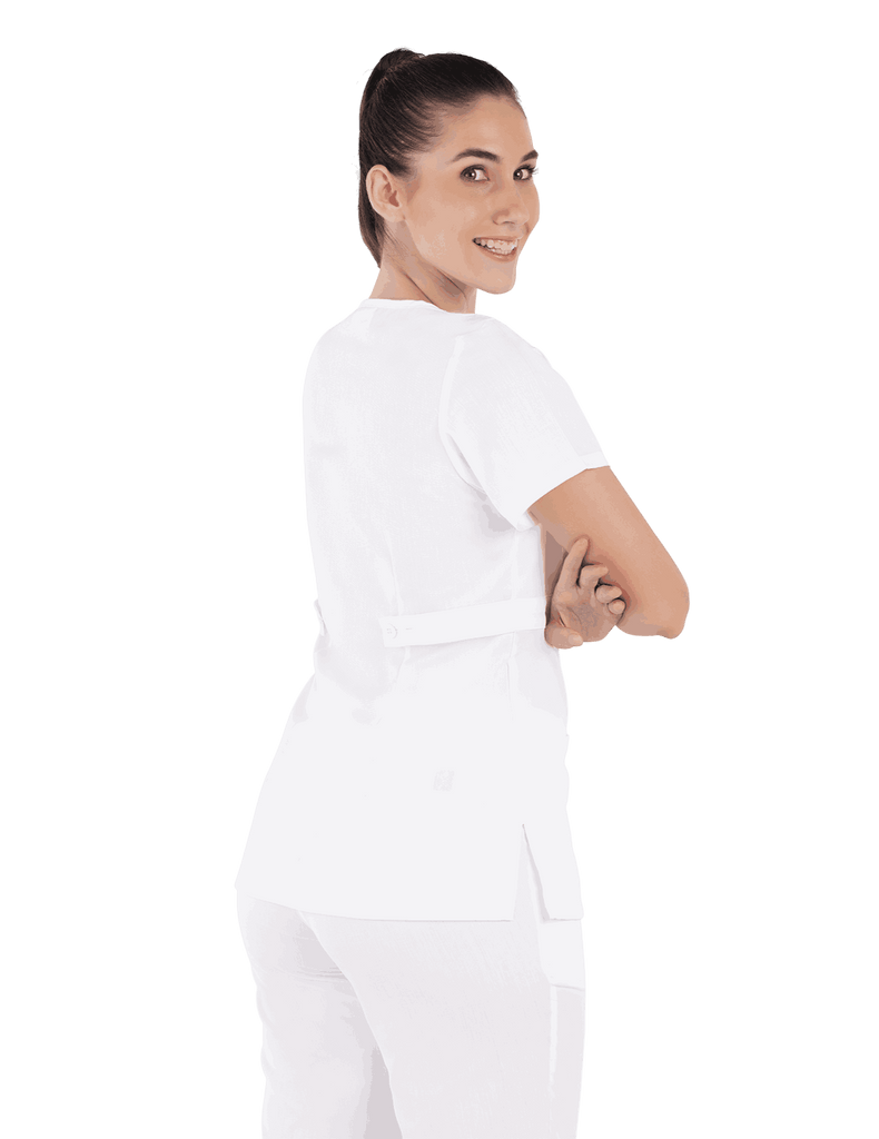 Life Threads | Women's Classic Mock Wrap Scrub Top - White - 6