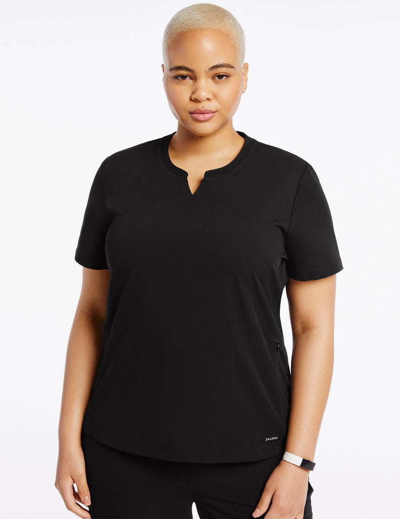 Jaanuu | Women's Crew Step Hem Top - Black - 1 - Curve