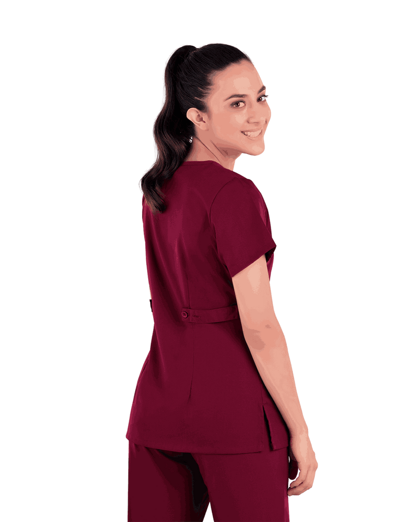 Life Threads | Women's Classic Mock Wrap Scrub Top - Wine - 6