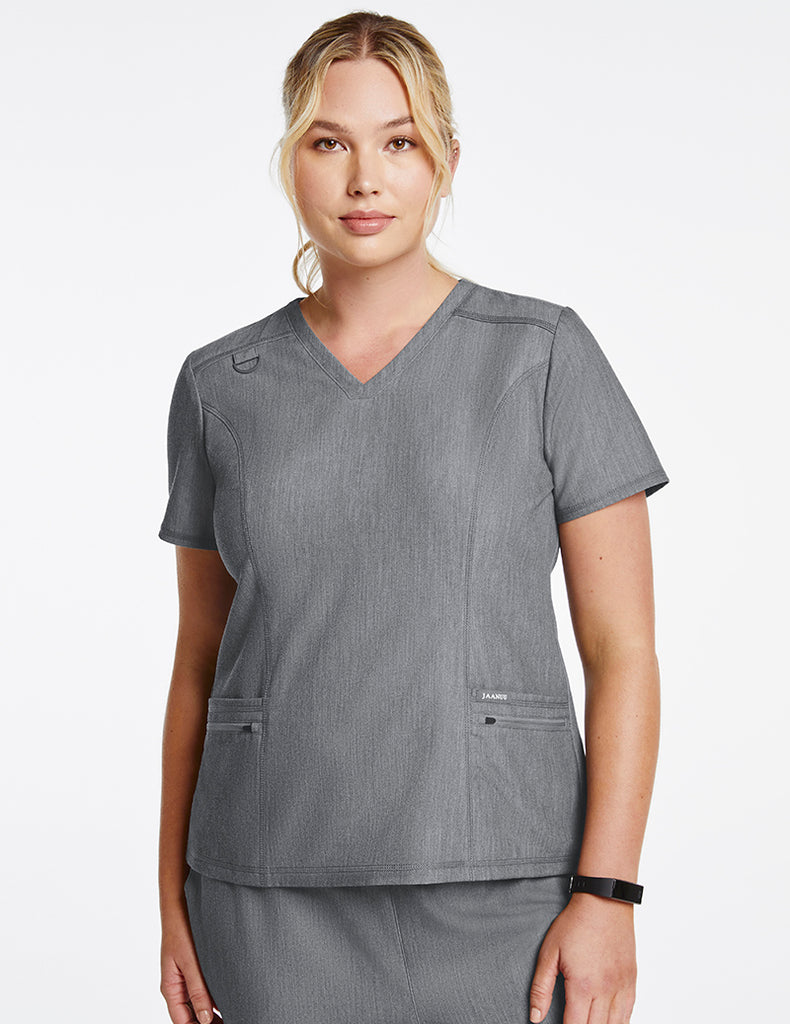 Jaanuu | Women's 4-Pocket D-Ring Top - Heather Gray - 1 - Curve