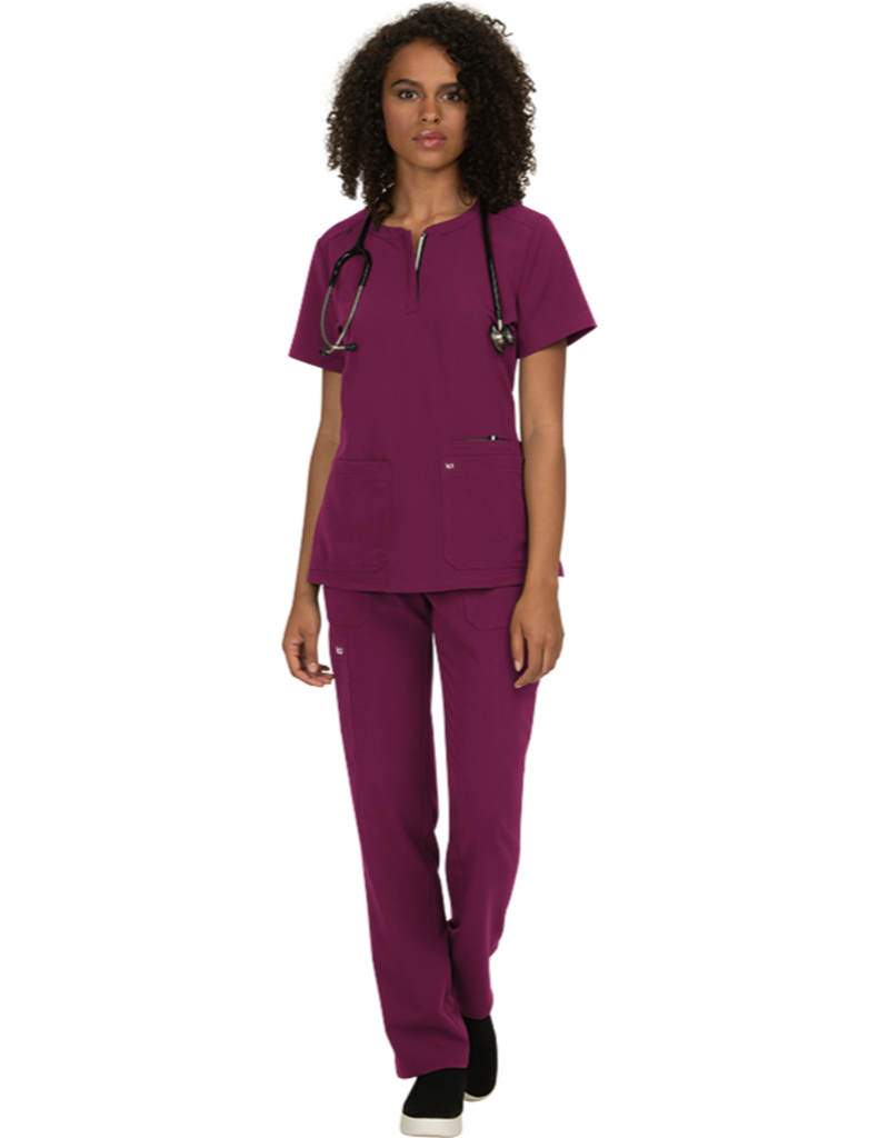 Koi | Back In Action Solid Scrub Top - Wine