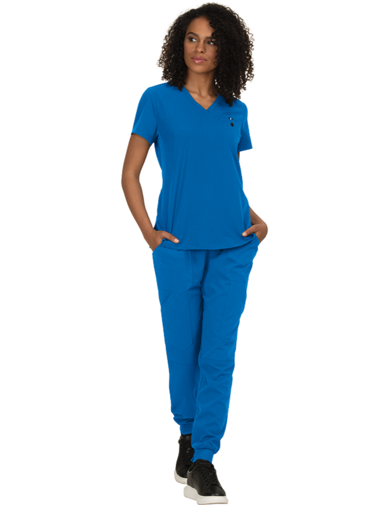 Koi | Ready To Work Solid Scrub Top - Royal Blue