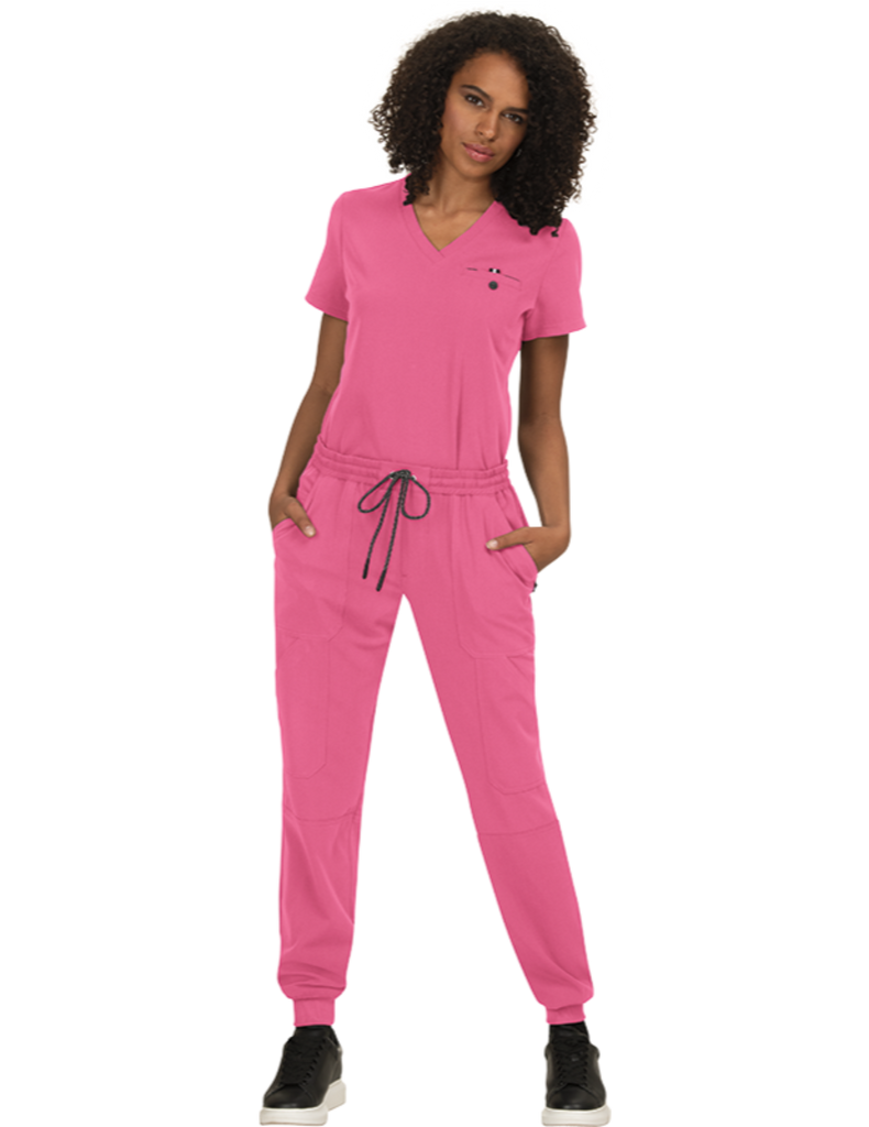 Koi | Ready To Work Solid Scrub Top - Rose