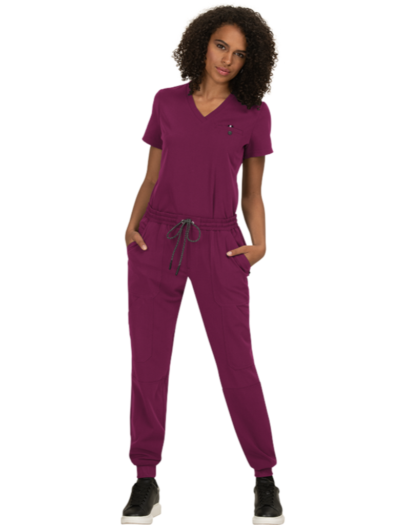 Koi | Ready To Work Solid Scrub Top - Wine