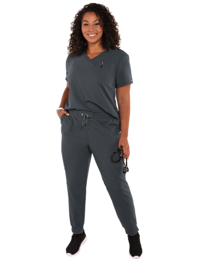 Koi | Ready To Work Solid Scrub Top - Charcoal