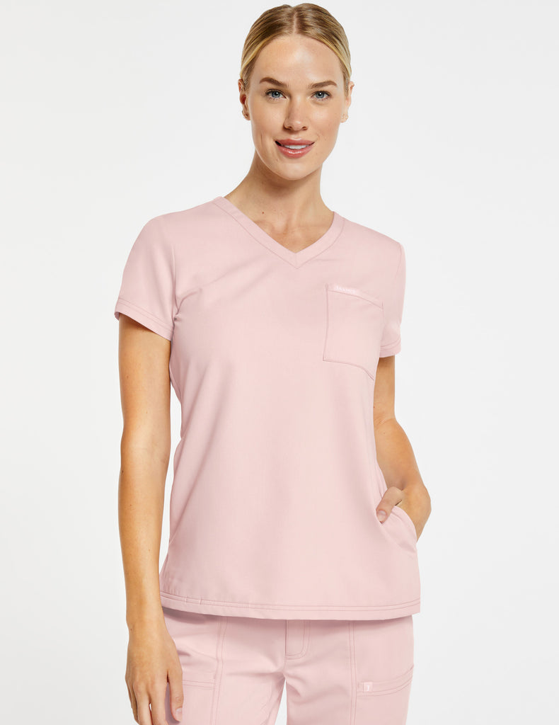 Jaanuu | Women's 3-Pocket V-Neck Top - Blushing Pink - 1