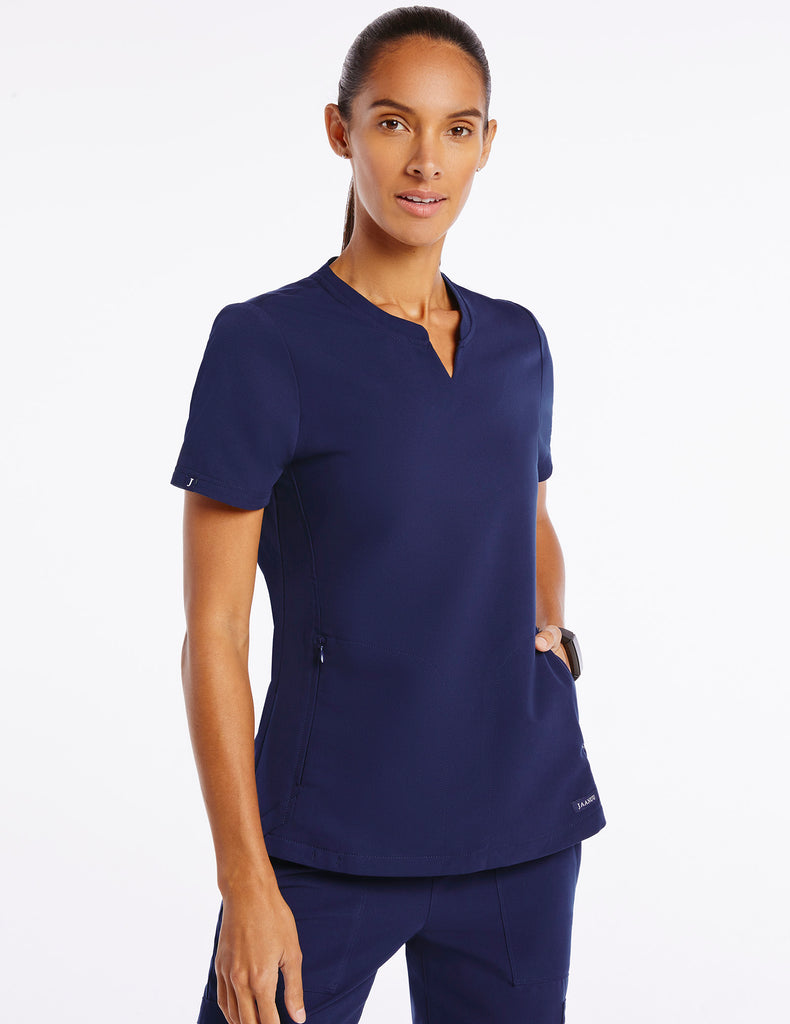 Jaanuu | Women's Crew Step Hem Top - Navy - 1