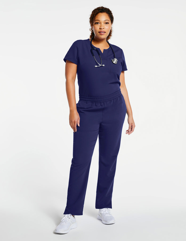 Jaanuu | Women's 1-Pocket Tuck-In Top - Navy - 2 - Curve