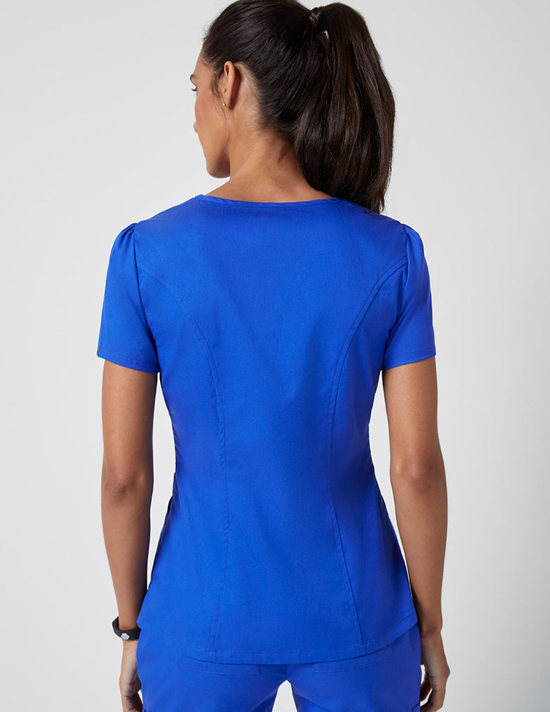 Jaanuu | Mock Wrap Neck Top - Royal Blue - 4
