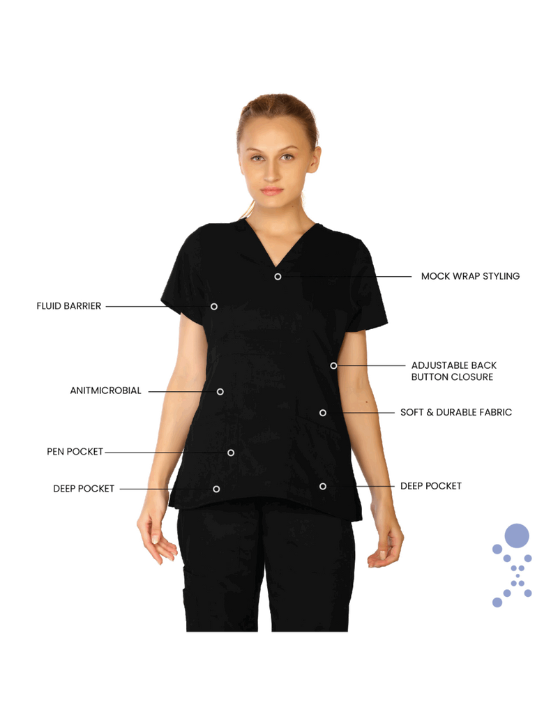 Life Threads | Women's Classic Mock Wrap Scrub Top - Black - 7