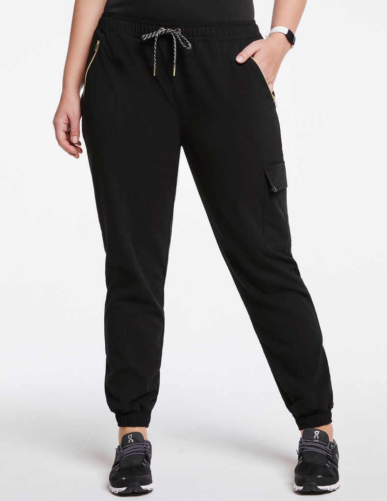 Jaanuu | Women's Essential Gold Zip Jogger - Black - 1 - Curve