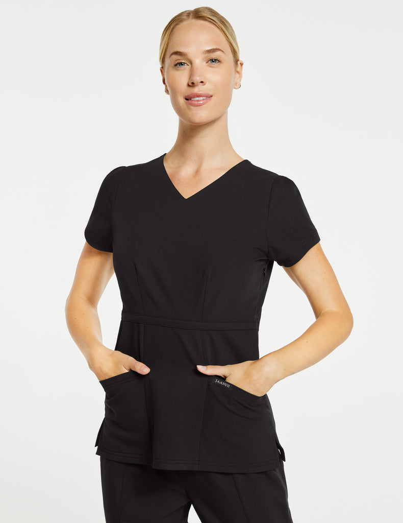 Jaanuu | Women's Signature Peplum Top - Black - 1