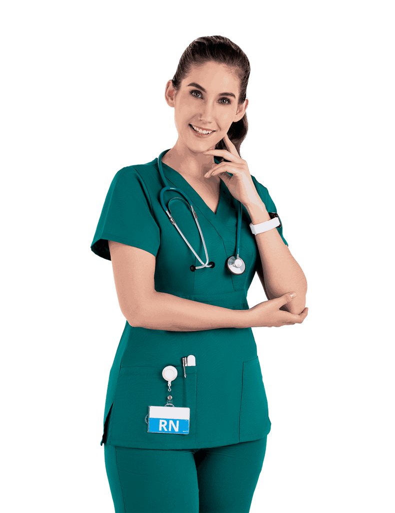 Life Threads | Women's Classic Mock Wrap Scrub Top - Hunter Green - 1
