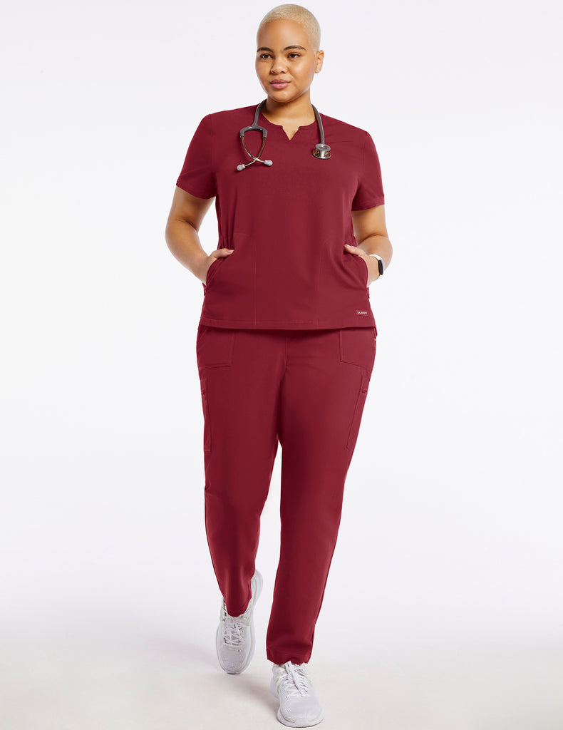 Jaanuu | Women's Crew Step Hem Top - Wine - 2 - Curve