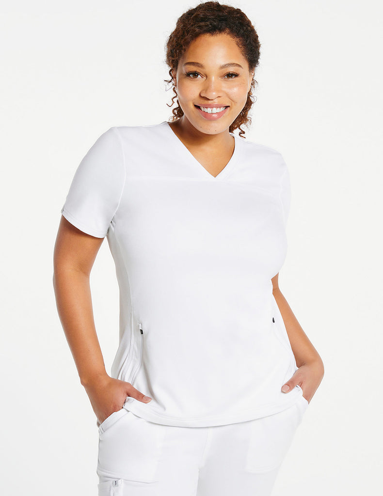 Jaanuu | Women's 2-Pocket Side-Rib Top - White - 1 - Curve