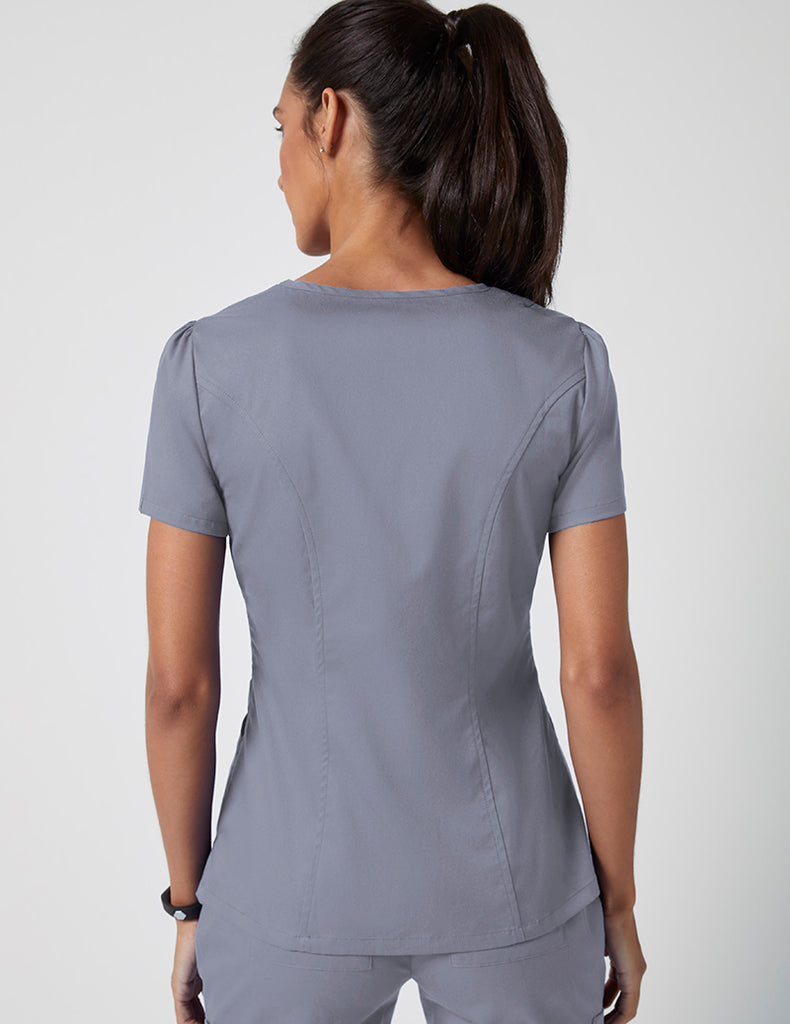 Jaanuu | Mock Wrap Neck Top - Graphite - 4
