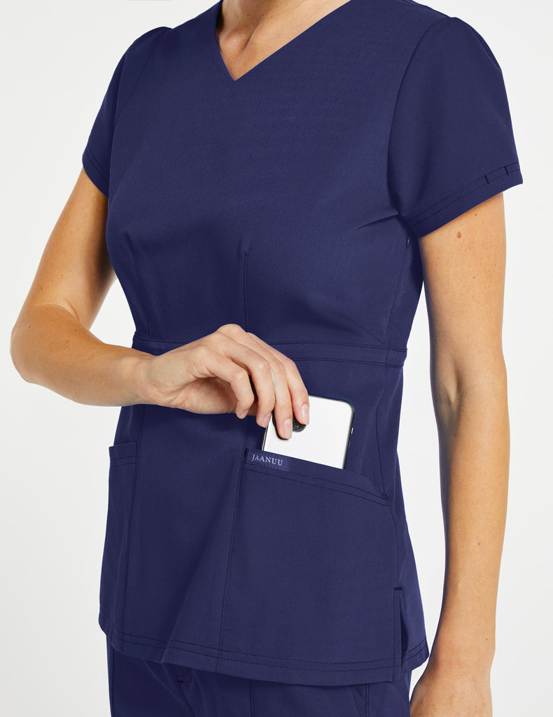Jaanuu | Women's Signature Peplum Top - Navy - 3