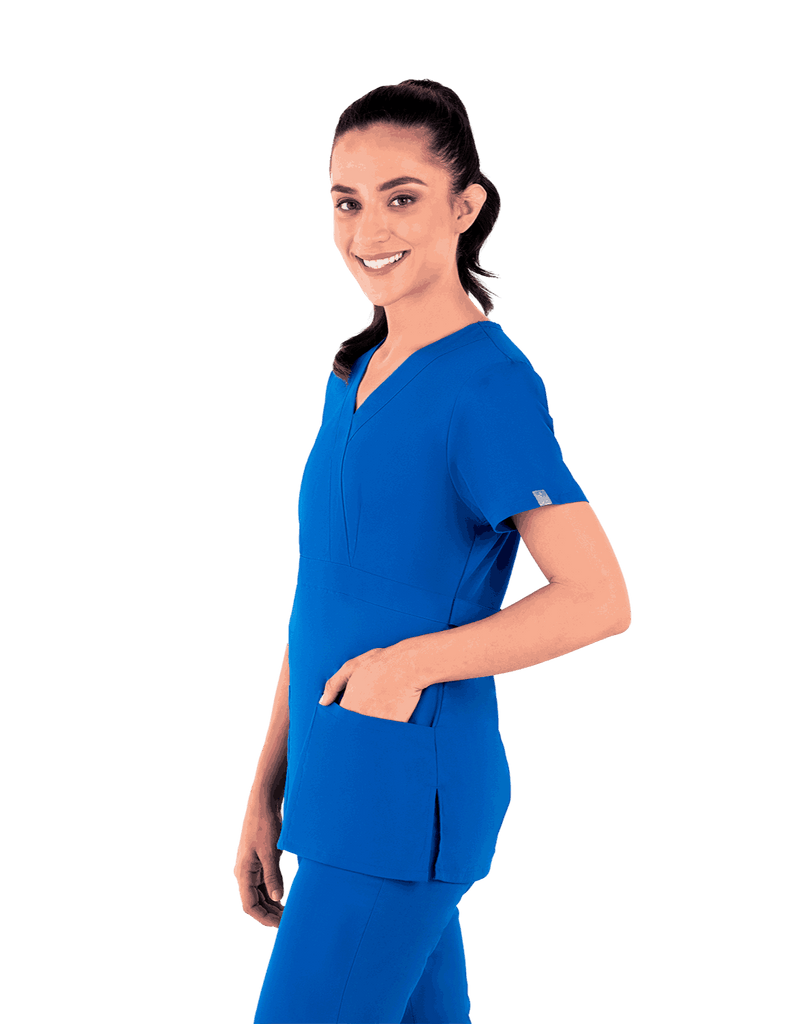Life Threads | Women's Classic Mock Wrap Scrub Top - Royal Blue - 3