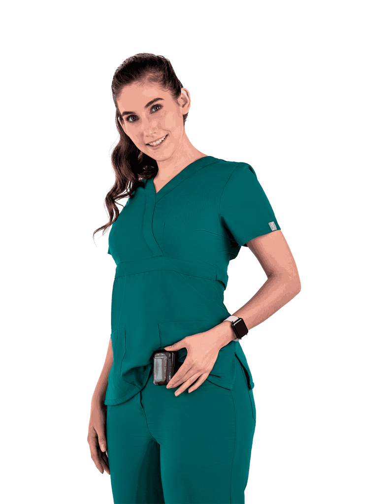 Life Threads | Women's Classic Mock Wrap Scrub Top - Hunter Green - 3