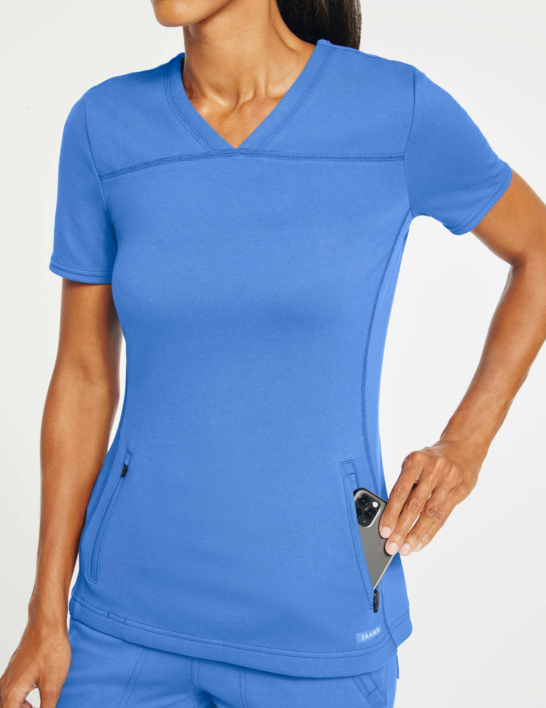 Jaanuu | Women's 2-Pocket Side-Rib Top - Ceil Blue - 3